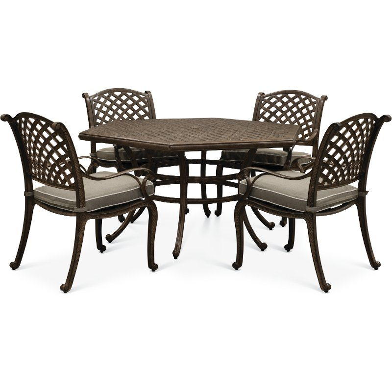 Brown 5 Piece Outdoor Patio Dining Set Castle Rock Rc Willey Furniture