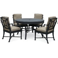 Blue Gray and Tan 5 Piece Outdoor Patio Set - Antioch