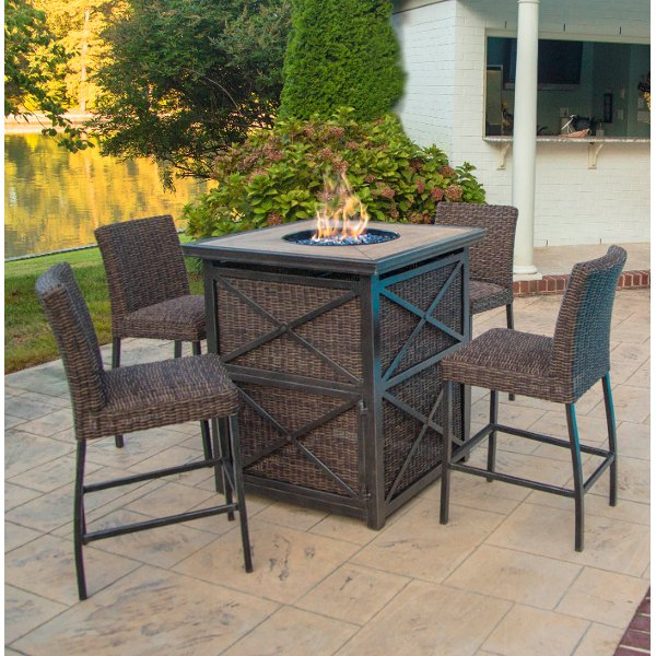 ... 5 Piece Fire Pit Bar Height Patio Set   Franklin