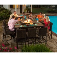 11 Piece Outdoor Patio Fire Pit Dining Set - Franklin
