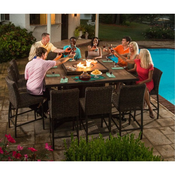 ... 11 Piece Outdoor Patio Fire Pit Dining Set   Franklin