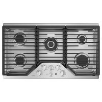 PGP9036SLSS GE Profile 36 Inch Gas Cooktop with optional extra-large, integrated cooktop griddle - Stainless Steel