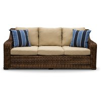 Wicker and Linen Outdoor Patio Sofa - Tortola