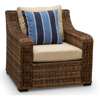 12C057AW1/LINEN/CH Wicker and Linen Outdoor Patio Chair - Tortola