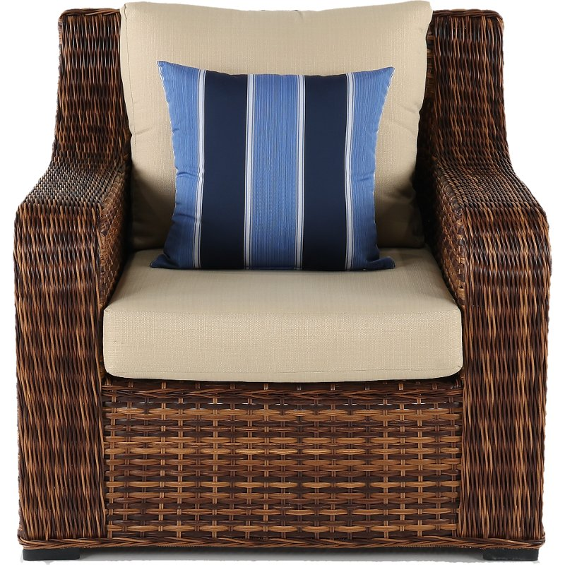 Wicker And Linen Outdoor Patio Chair