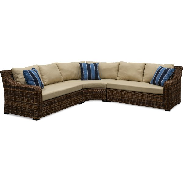 3pc Tortola Linen Sc Wicker And Outdoor Patio Sectional Sofa