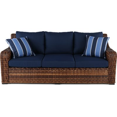Wicker and Navy Outdoor Patio Sofa - Tortola