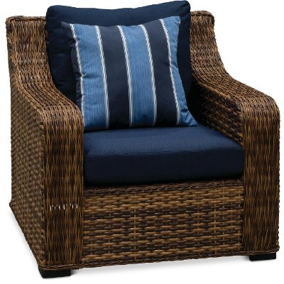 Wicker and Navy Outdoor Patio Chair - Tortola