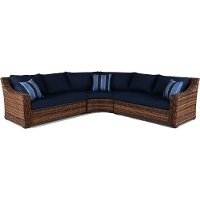 3PC/TORTOLA/NAVY/SEC 3 Piece Outdoor Patio Sectional Sofa - Tortola