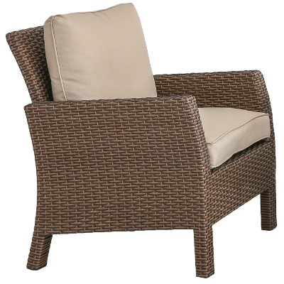 Wicker Patio Chair with Linen Cushion - Arcadia