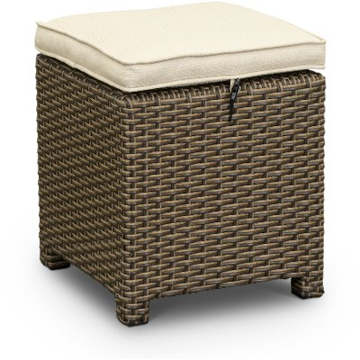 WBR13390108/LINEN/OT Wicker and Linen Patio Ottoman - Arcadia