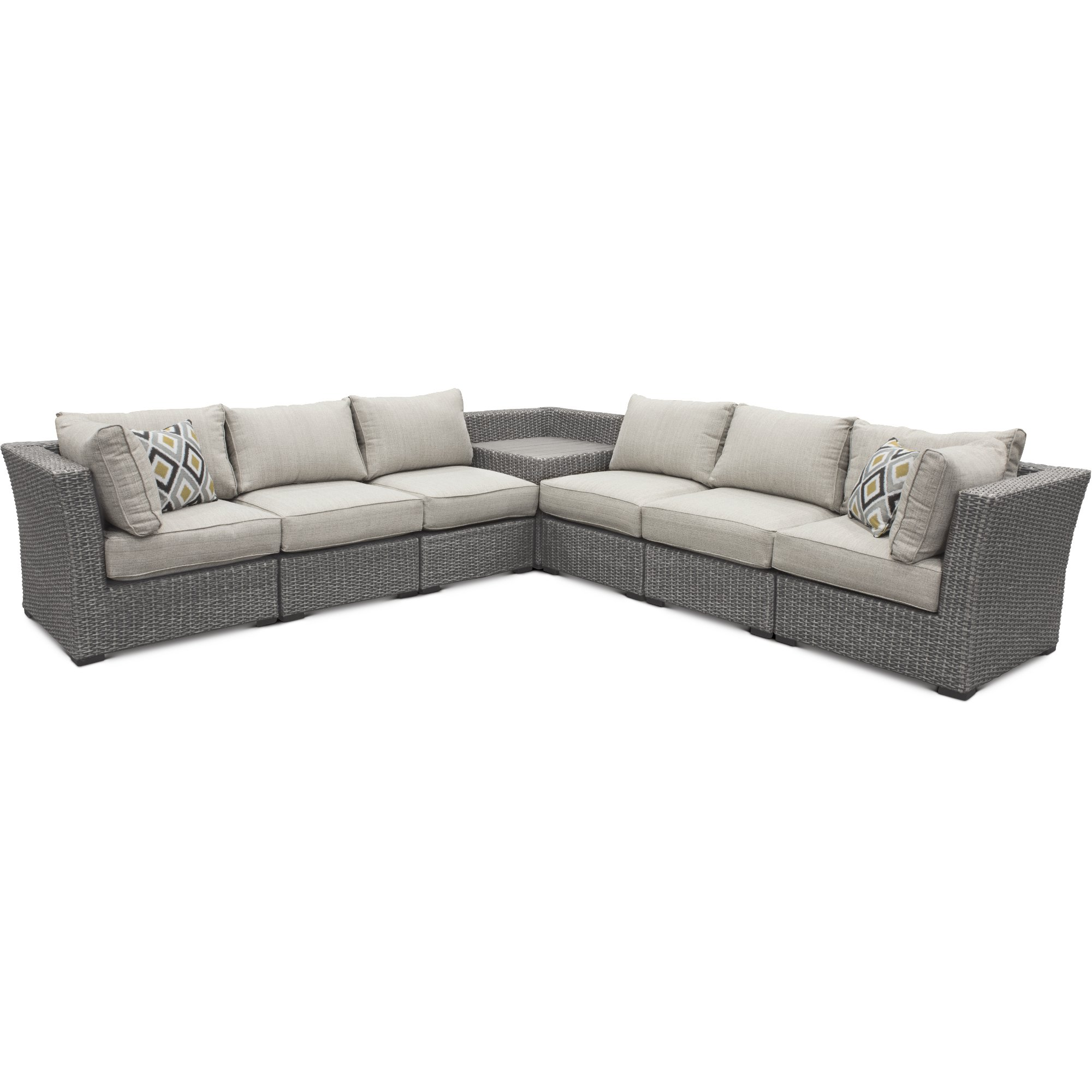 7pc Tahoe Linmix Op1 Gray 7 Piece Outdoor Patio Sectional Sofa