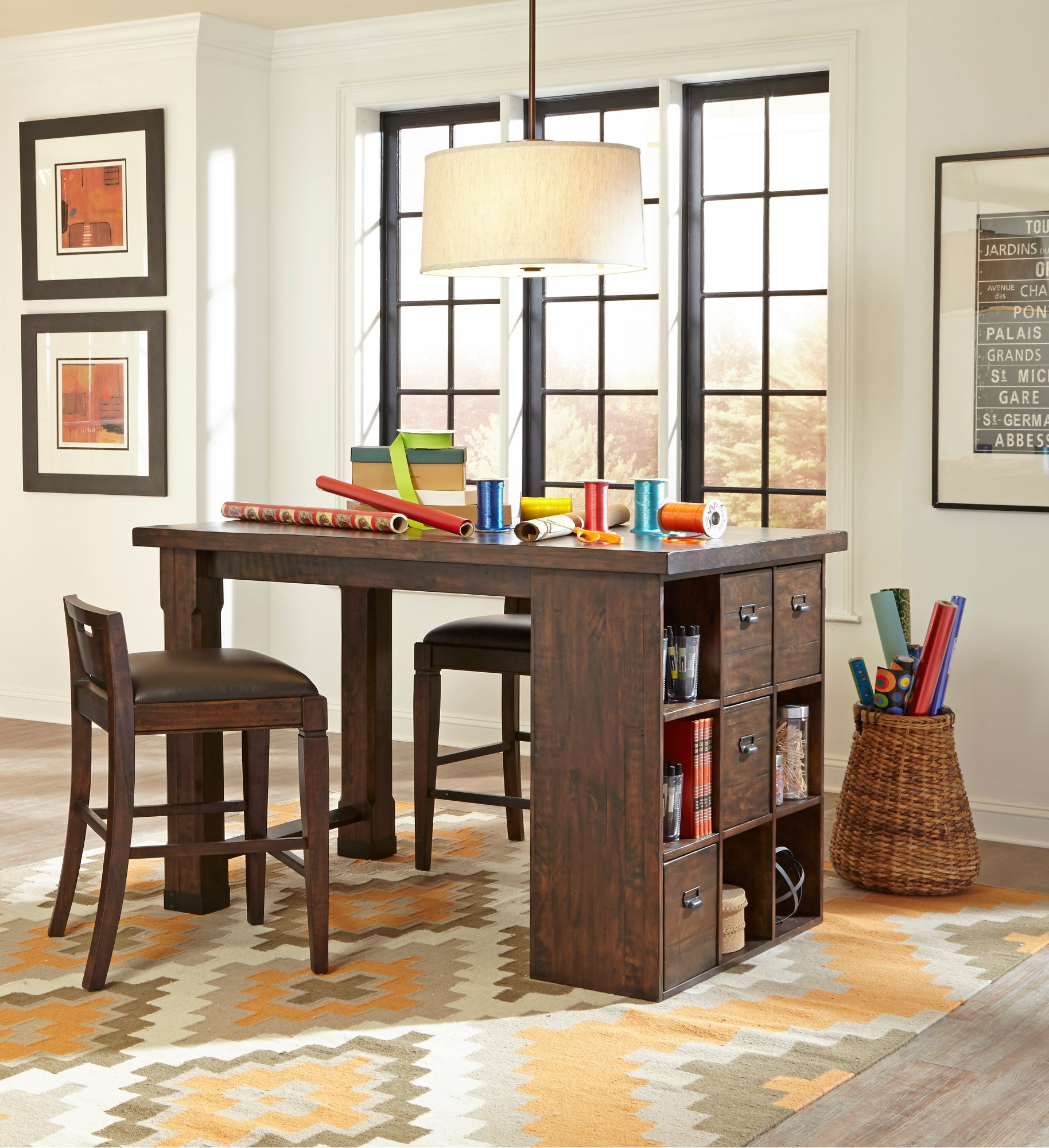 ... Office Chairs 6 Foot Counter Height Desk And Two Chairs Pine Hill Rc  Willey ...