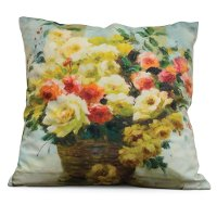 Flowers In A Basket Throw Pillow