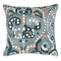 Mina Mallard Green and Multi Color Linen Throw Pillow
