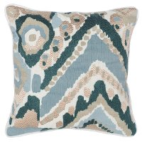 Cece Mallard Green and Multi Color Linen Throw Pillow
