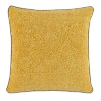 Squash Yellow Throw Pillow with Flax Linen Piping