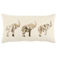 White and Champagne Sequin Elephants Throw Pillow