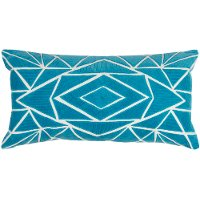 Peacock Blue Throw Pillow with Geometric Shapes
