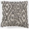 Natural Gray Textured Diamond Cotton Throw Pillow