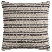 Ivory and Gray Stripe Cotton Textured Throw Pillow
