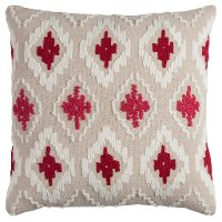 Natural and Red Textured 20 Inch Throw Pillow