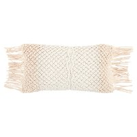 White and Natural Woven Rectangular Throw Pillow