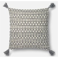 22 Inch Gray Throw Pillow with Tassels