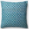 Teal and White 22 Inch Throw Pillow