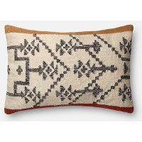 P4022 Camel and Rust Wool Rectangular Throw Pillow