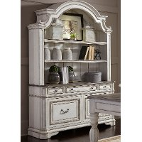 Antique White Cabinet with Hutch - Magnolia Manor