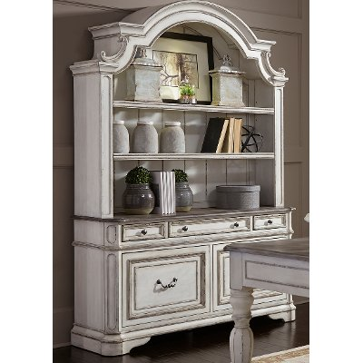 Antique White Cabinet with Hutch - Magnolia Manor - Antique White Cabinet With Hutch - Magnolia Manor RC Willey