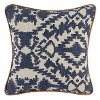 Indigo Blue Printed Linen Throw Pillow with Leather Piping