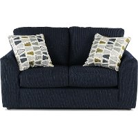 Casual Contemporary Dark Blue Loveseat - Hannah