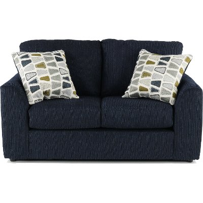 Casual Contemporary Dark Blue Loveseat   Hannah