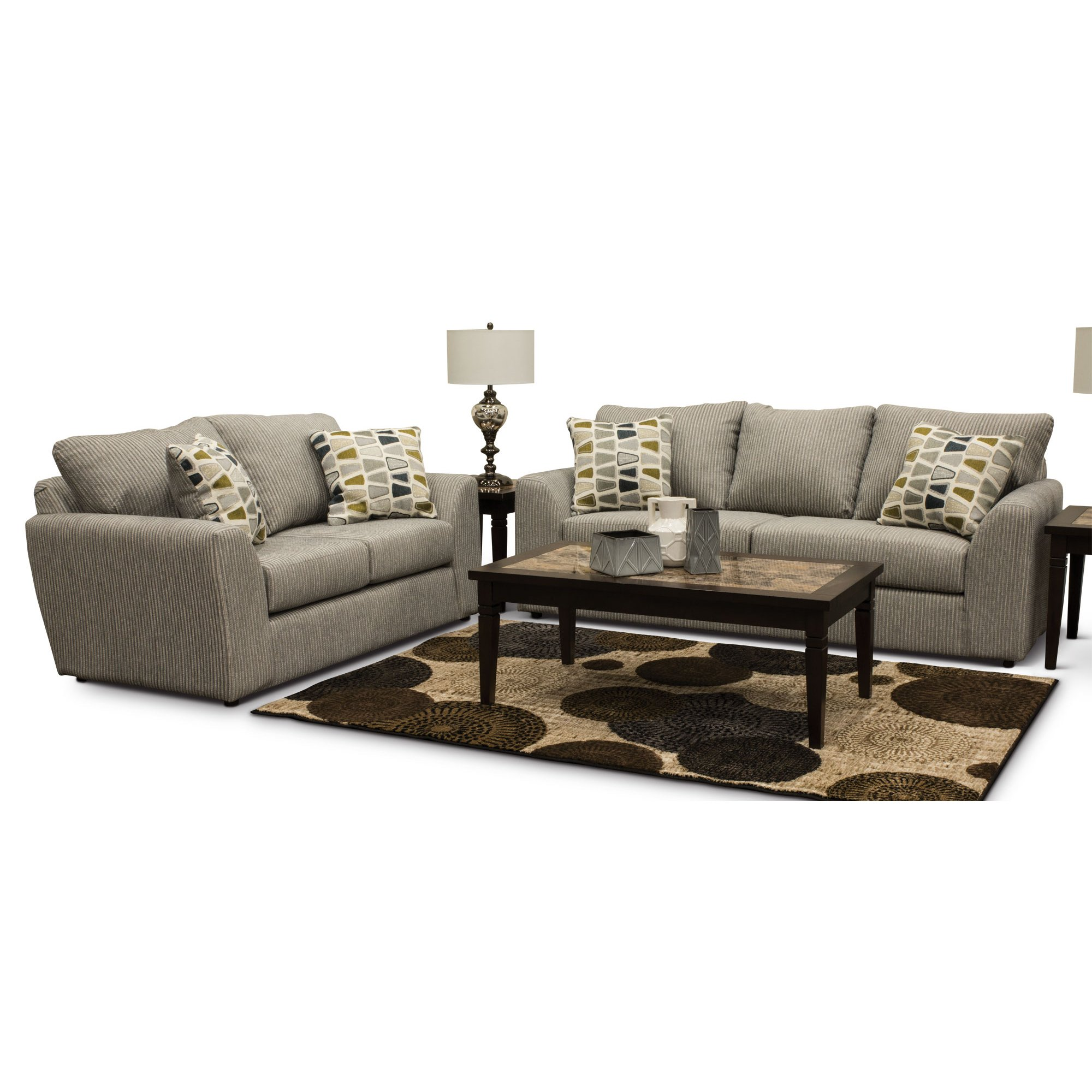 Casual Contemporary Gray 2 Piece Living Room Set - Hannah | RC ...
