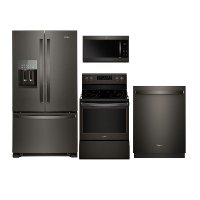 KIT Whirlpool 4 Piece Kitchen Appliance Package with Electric Range - Black Stainless Steel