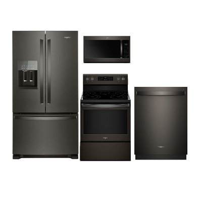 KIT Whirlpool 4 Piece Kitchen Appliance Package With Electric Range   Black  Stainless Steel