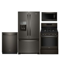 KIT Whirlpool 4 Piece Kitchen Appliance Package with Gas Range - Black Stainless Steel