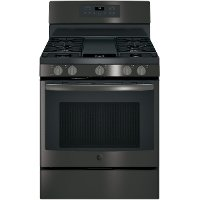 JGB700BEJTS GE 30 Inch Gas Convection Range -  5.0 cu. ft. Black Stainless Steel