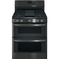 JGB860BEJTS GE 30 Inch 6.8 cu. ft. Free-Standing Gas Double Oven Convection Range - Black Stainless Steel