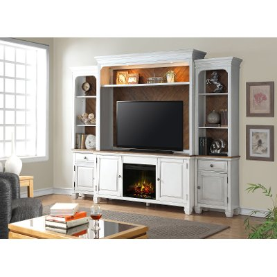 RC Willey lets you enjoy a fire and your favorite movie with this 4 piece white entertainment center with a fireplace. Part of the Camden collection this piece features a lightly distressed heirloom white finish
