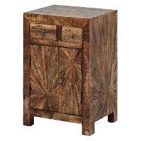 Modern Rustic Sunburst Brown Nightstand - Cayley