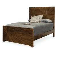 Modern Rustic Sunburst Brown Queen Bed - Cayley
