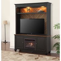 Antique Black 2 Piece Fireplace Entertainment Center - Brighton Hickory