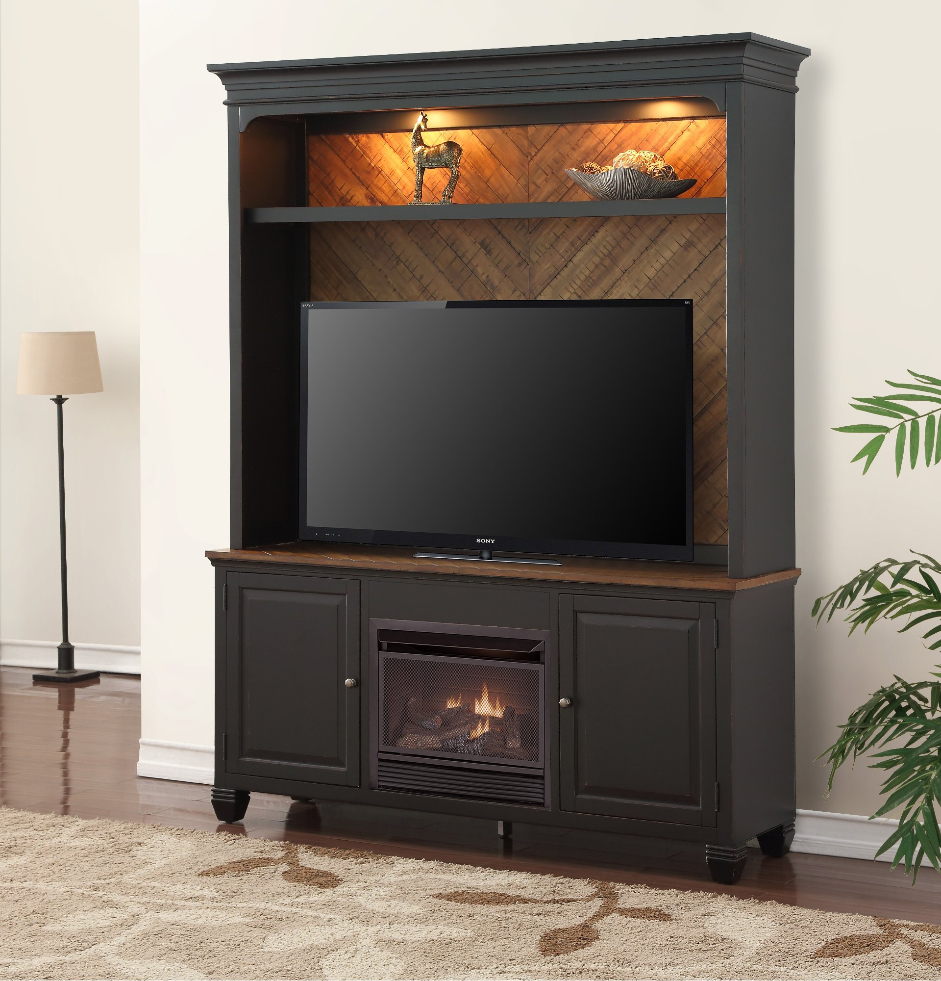 4 Piece Antique Black Fireplace Entertainment Center Brighton Hickory Rc Willey Furniture Store