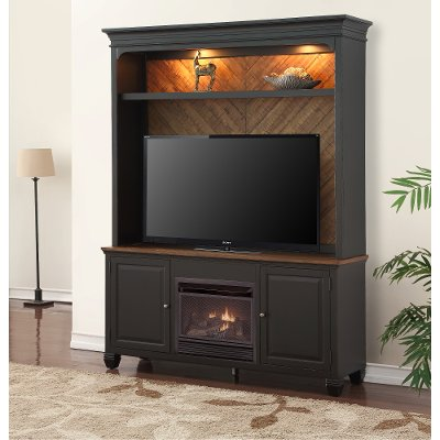 RC Willey offers this beautiful antique black TV stand with a fireplace and hutch that is sure to add a new level of warmth and coziness to your entertainment area. It