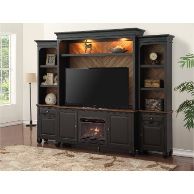 RC Willey helps you take the chill out of the air with this beautiful antique black 4 piece fireplace entertainment center. It