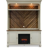 White 2 Piece Classic Fireplace Entertainment Center - Camden