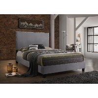 Classic Contemporary Gray Upholstered Queen Bed - Delora